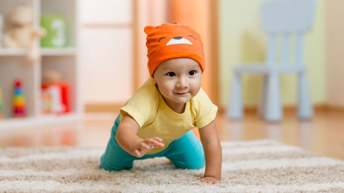 Baby crawling before walking. Taking it step  by step a secret to social media marketing.