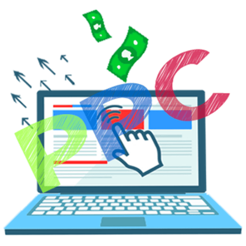 Pay per click ppc computer monitor money in