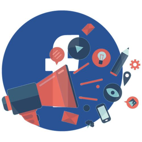 Facebook Advertising Marketing Assistance bubble with megaphone