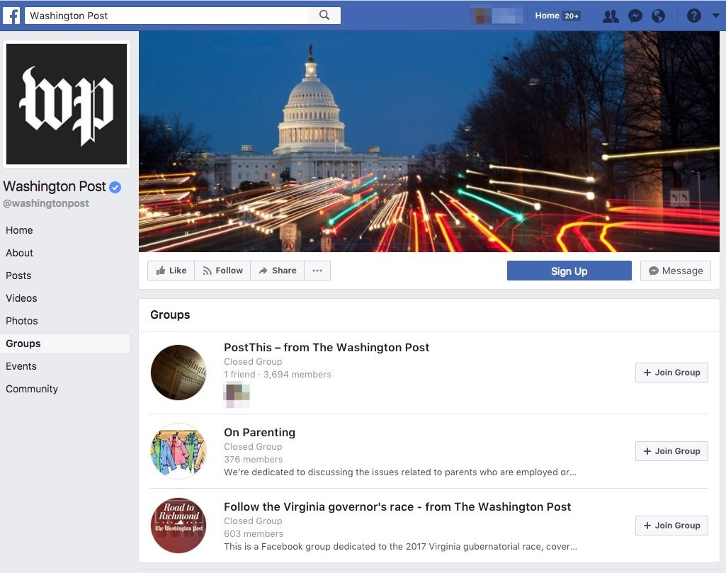 Washington Post groups as an example of facebook community engagements in groups.